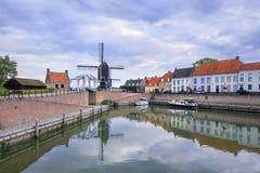 Stary port Warowny grodzki Heusden, Brabant, holandie zdjęcia stock