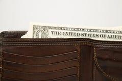 Stary portfel z banknotami USA dolary inside Zdjęcie Royalty Free