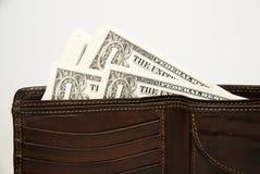 Stary portfel z banknotami USA dolary inside Obraz Stock