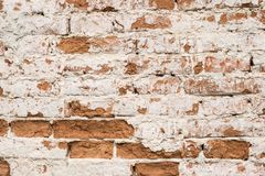 Stary powyginany ściana z cegieł obrazy royalty free