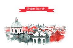 Stary Praga linii horyzontu widok Zdjęcie Stock