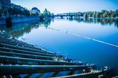 Stary Praga widzieć od Novotny footbridge Fotografia Stock