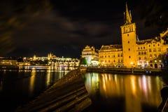 Stary Praga widzieć od Novotny footbridge Zdjęcia Royalty Free