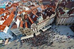 stary Prague czerwieni dachu kwadrat taflował wierzchołki grodzkich Obrazy Royalty Free