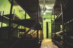 Stary, przemysłowy wentylacja system w piwnicie zaniechany schron, fotografia stock
