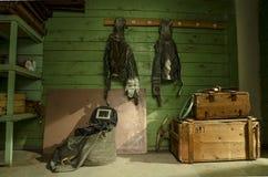 Stary, przemysłowy wentylacja system w piwnicie zaniechany schron, obraz royalty free