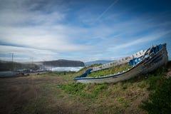 Stary przerastający łódkowaty wrak przy plażą obraz stock