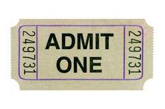 Stary przyznaje jeden filmu bilet odizolowywającego białego tło obraz royalty free