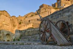stary pushcart na ulicach Matera Zdjęcia Royalty Free