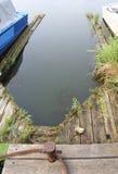 Stary pusty cumowania miejsce dla łodzi Obrazy Royalty Free