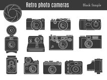 Stary retro fotografii kamery set ilustracja wektor