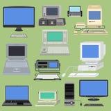Stary retro rocznika wektorowego komputeru komputeru osobistego monitor i tv ekran Klasycznej antykwarskiej technologii w starym  ilustracji