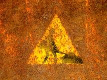 Stary roadworks znak na ośniedziałej metal powierzchni Zdjęcia Royalty Free