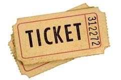 Stary rocznik drzejący kinowy bileta bielu tło obraz royalty free