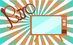 Stary, rocznik, retro, modniś, antyk, dyskoteka, brąz, jaskrawy, piękny kineskop TV na tle błękitni gradientowi promienie z th, royalty ilustracja