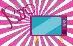 Stary, rocznik, retro, modniś, antyk, dyskoteka, purpura, jaskrawy, piękny kineskop TV w tle purpurowi promienie z w, royalty ilustracja