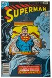 Stary rocznika komiks, nadczłowiek Zdjęcia Stock