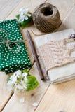 Stary rocznika notepad dział w beżowym pulowerze, gęsty skein Zdjęcia Stock
