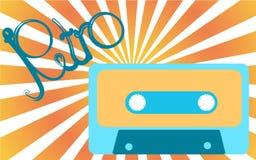 Stary, roczniku, retro, modniś, antyk, błękit i żółta audio kaseta od 80 s `, 90 s z inskrypcją retro przeciw a ` ilustracji
