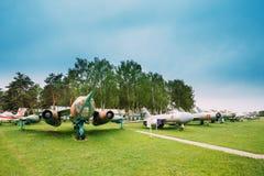 Stary Rosyjski Radziecki wojskowy Hebluje samolot bombowiec I wojowników Obraz Stock