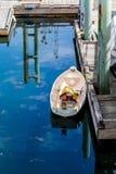 Stary Rowboat na błękicie Zdjęcia Royalty Free