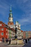 Stary rynek - Old square with restored colorful buildings and fountain, city of Poznan, Poland, 19.september 2017. Stary rynek - Old square with restored Royalty Free Stock Image