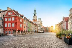 Stary Rynek square and old Town Hall in Poznan, Poland. Stary Rynek square with small colorful houses and old Town Hall in Poznan, Poland royalty free stock photos