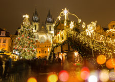 Stary rynek w Praga przy zimy nocą Fotografia Royalty Free