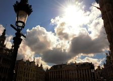 Stary rynku niebo Bruges obrazy royalty free