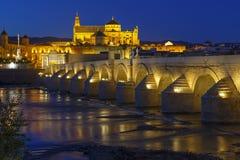 Stary rzymski most Calahora przy nocą i wierza, cordoba fotografia royalty free