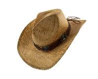 Stary słomiany kowbojski kapelusz odizolowywający na bielu obrazy stock