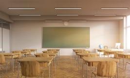 Stary sala lekcyjnej wnętrze z słońcem Zdjęcie Royalty Free