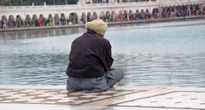 Stary sikhijczyk ono modli się blisko Złotej świątyni zdjęcie stock