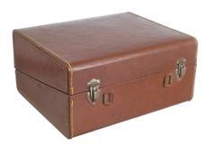 Stary skóry pudełko odizolowywający na biały tle Zdjęcia Stock