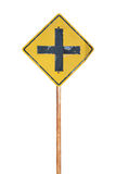 Stary skrzyżowanie naprzód drogowy znak Fotografia Royalty Free