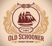 Stary skuner - portowego wina etykietka Obraz Royalty Free