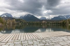 Stary Smokovec houses and lake in mountains. In Slovakia Royalty Free Stock Photo