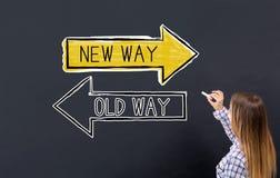 Stary sposób lub nowy sposób z młodą kobietą zdjęcie royalty free