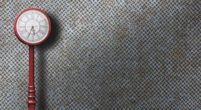 Stary stali ściany tło z czerwień zegaru rocznika stylem Zdjęcia Stock