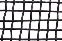 Stary Starzejący się Wietrzejący Ośniedziały siatki klatki ogrodzenia żelaza greting, Odosobniona Grungy Horyzontalna ampuła Wysz Obrazy Stock