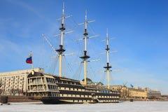 stary statek St Petersburg Zima Obrazy Stock