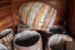 Stary statku naczynia drewna baryłek szczegół Obrazy Royalty Free