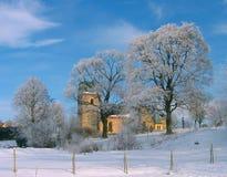 stary Stockholm najbliższego kościoła Obrazy Royalty Free