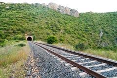 Stary taborowy tunel z koleją Obrazy Royalty Free