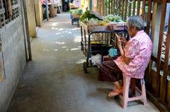 Stary tajlandzki kobiety sprzedaży jedzenie i warzywo dla podróżnika przy Koh Kret Obrazy Stock