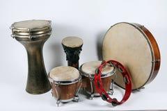 Stary tambourine i Dums Fotografia Stock