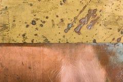Stary textured wzoru groszaka brązu metalu tło z śniedzią Zdjęcia Stock