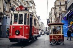 Stary tramwaj przy Istiklal aleją Obrazy Royalty Free