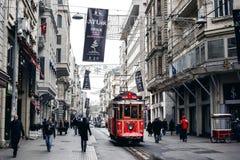 Stary tramwaj przy Istiklal aleją Zdjęcia Stock