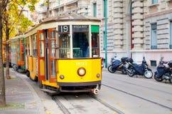 Stary tramwaj w Mediolan, Włochy Fotografia Stock